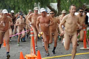 Bare Burro Nude 5K 2016 Start. One tough trail run at OLIVE DELL NUDIST RANCH, Colton, CA, USA